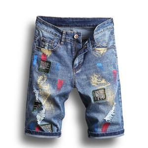 Summer para hombre Rompe Jeans Fashion Stylist Hombres Pantalones cortos Pantalones rectos Rodilla corta Homme Homme Casual Jean Tamaño 28-40