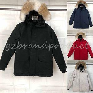Brasão fábrica de Down Parka Homme Jassen Daunejacke Casacos Big Fur com capuz Fourrure Manteau Canadá Down Jacket Brasão Chi Hiver Doudoune