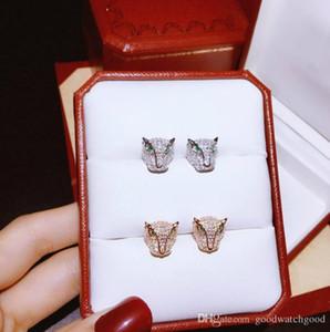 Gioielli di lusso orecchino Donna Designer Panthère de C della serie in argento 925 degli animali della testa del leopardo della vite prigioniera del 2 colori Monili di nozze