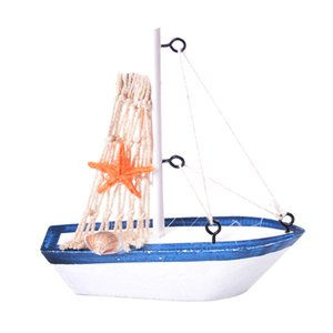 Retro de madera de estilo mediterráneo mini Velero modelo de la decoración náutica