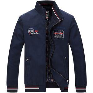 Artı boyutu 4XL Akıllı Casual Bahar Erkek Ceket Standı Yaka Bayrak Nakış Ceketler Hendek Coats Uçuş Bombacı Ceket Erkekler