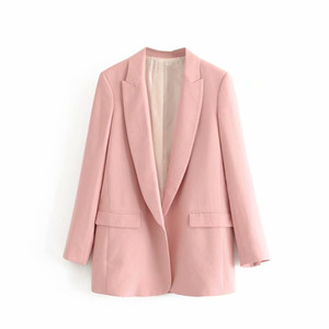 المرأة الدعاوى الحلل 2021 أزياء الخريف المرأة أنيقة السيدات الوردي الكتان المفتوحة غرزة مكتب ارتداء السترة معاطف عارضة casaco فام