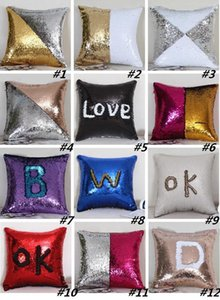 New Sequin Pillow Case cover Mermaid Pillow Cover Glitter Reversible Sofa Magic Double Reversible Swipe Cushion cover I378