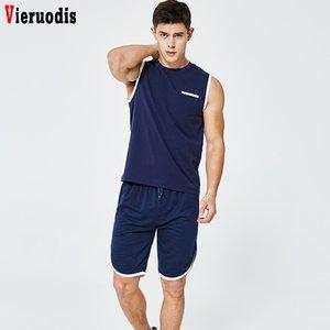 Yaz Yelek Seti Erkekler Kolsuz T Gömlek eşofman İki Adet Tops + Şort Takım Elbise Erkek Moda Jogger Spor Spor 2 Adet Set