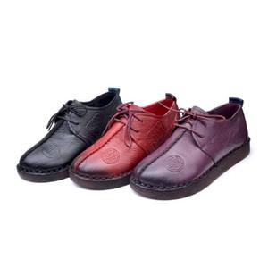 avec boîte Mode Rétro Chaussures main couture Femmes Flats en cuir véritable souple Bas Femmes Chaussures souples confortables Chaussures Casual femme