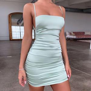 Dress della cinghia di spaghetti mini abito in raso donna sensuale Backless fasciatura trasversale guaina elastica pieghettata partito breve vestito da Club