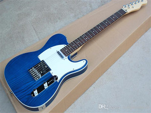 Fectory custom blue body Electric Guitar with write pickguard chrome hardware rosewood fingerboard offer customized as you request.