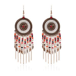 Barroco Tassel Earring brincos do punk exagerada, com longa cadeia de talão de Retro Boutique grosso moda jóias baratos Nova