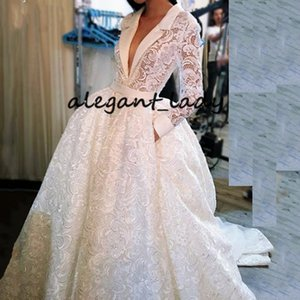Vintage Crochet Lace Wedding Dresses with Pocket Design 2019 Sexy V-neck Long Sleeve Puffy Skirt Arabic Castle Bridal Wear for Wedding