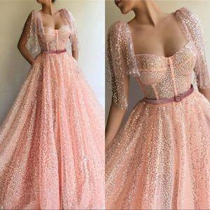Dubai Peach Sevied She Sashes Sexy Вечерние платья 2020 Милая Короткая рукава Спаркое Тюль Платье выпускного вечера Настроить размер цвета