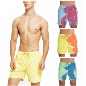 Homens Cor-Changing Praia Calças com água descoloração calções Men Verão sensíveis à temperatura Tamanho Swim Trunks Shorts Asian S-3XL