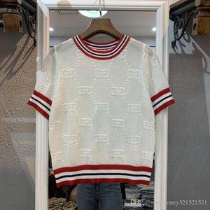 2019 новых женщины моды стиль колледжа с коротким рукавом о-шее цвета блок трикотажного логотипа письмо жаккарда '' s переплетениями выдалбливают свитер верхней рубашки