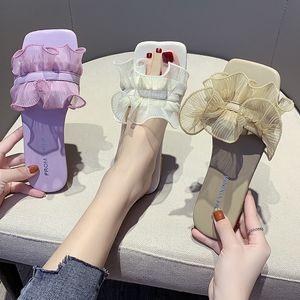 Terlik Günlük Kare Toe Çiçek Kadın Glitter Slaytlar Shose Kadınlar lüks 2020 Jelly Düz Moda Temel PU Floral Ayakkabı