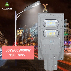 120LM Solar Poste / W 30W 60W 90W IP65 impermeável PIR sensor de movimento integrado Rua Solar pólo claro e controle remoto