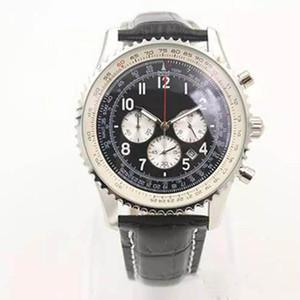 2019 vente chaude Quartz -Watch cadran noir cas cannelé ceinture en cuir noir cas cannelé 1884 Navitimer montre-bracelet Fermoir original shopping libre
