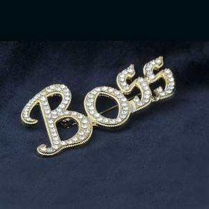 Bling Bling plateado del oro 18K de cristal austriaco Carta de BOSS broches Hombres Mujeres joyería de la boda de lujo bonito regalo al por mayor al por menor envío gratis