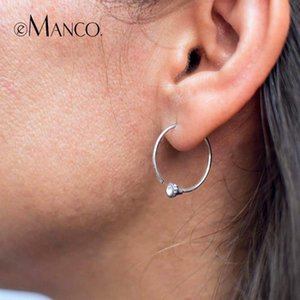 e-Manco Gold Color 925 Silver Big Hoop Earrings for Women Round Circle Earrings Brincos Jewelry Party Rock Fashion Gift DropShip