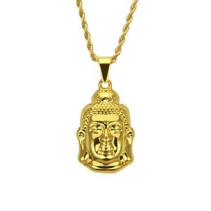 Erkek Buda heykeli Büküm zinciri Hip hop kolye 20 K Altın Buda baş Kolye kolye