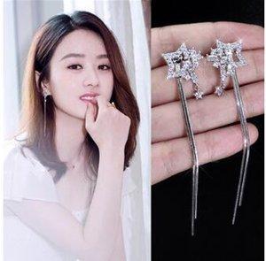Orecchini lungo nappa triangolo coreano moda perla orecchini di diamanti gioielli ragazza di cristallo
