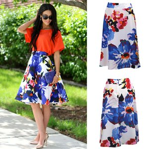 Mulheres verão cintura alta saia floral beachwear casuais a-line dress praia férias