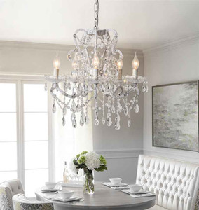 LED teto candelabro de cristal K9 luzes de suspensão fixação para Sala Vela Branca Corpo Modern Suspension Chandelier