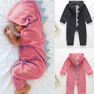 Dinossauro do bebê Conjoined pijamas cor de doces com capuz Zipper bedgown crianças inverno quente Pajamsa Meninas dos desenhos animados Macacão de Bebé Roupa WY225Q