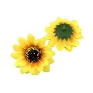 Cabezas de flores de seda artificial Girasol falsos boda de DIY la guirnalda de pelo de alta calidad 7cm decoración de las flores 50pcs / Lot