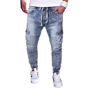 Mens Washed Jeans Mid Waist Casual Designer Drawstring Pencil Pants Homme Fashion Jeans