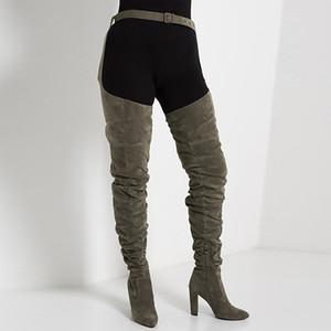 Zandina Handmade Womens cintura Buckle Botas Bloco de Inverno Heel Com Botas Tamanho Grande Partido Prom Clube Moda Evening botas longas D375