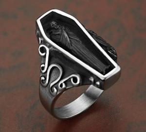 Men stainless steel skeleton skull coffin Promote the fortune Ring