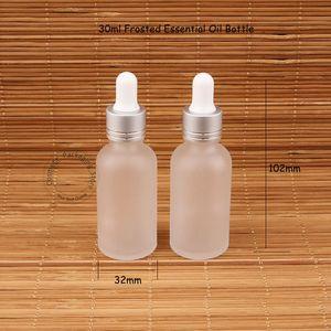 30ml di vetro Bottiglia di olio essenziale contagocce Frosted Pot 1OZ Donne contenitore cosmetico 30 grammi SampleTest Jar