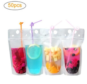 US STOCK DHL Ship 100pcs Clear Drink Pouches Bags frosted Zipper Stand-up Plastic Drinking Bag with straw with holder Reclosable Heat-Proof
