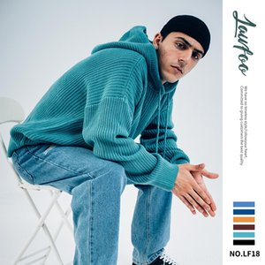 2019 marca de moda LawFoo los hombres suéter de color sólido encapuchado suéter con capucha de los hombres sueltos