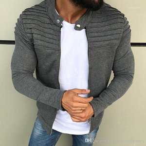 Long Sleeve Mens Coats Fashion Mens Sports Loose Outerwear Mens Autumn Striped Casual Jackets Solid