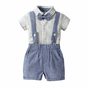 Newborn Baby Boy Clothing Sets Summer 2019 Casual Kids Outfit Infant Boys Romper Clothes Baby Stripe Rompers+Shorts 2pcs Suits