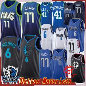 Luka Doncic 77 hombres + Maverick Niños camiseta Kristaps Porzingis 6 NCAA Baloncesto Jersey Dalla Kristaps Porzingis 6 Luka 77 Doncic