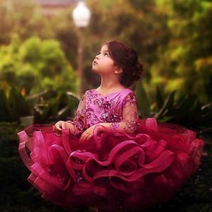 2020 Nuovo Pizzo Tulle Cupcake ragazze di fiore abiti con maniche lunghe collo alto di cristallo Sash Piccola festa di compleanno abito pizzo Abiti formali