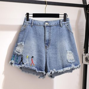 5XL 6XL Women Summer Shorts plus size loose wide leg Denim Jeans Sexy Ripped Hole tassel embroidery Girl Casual Hot Short JC152