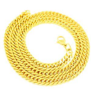 18 К Позолоченные Из Нержавеющей Стали Ожерелье Мужская Цепочка 7 ММ Толстая Цепочка Плоская Цепь Змея