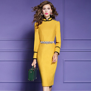 Pist 2020 YENİ bahar seksi Vintage Paketi kalça elbise İnce Casual Sıcak yün elbiseler sonbahar Kadınlar kış Tam kollu Parti Elbise