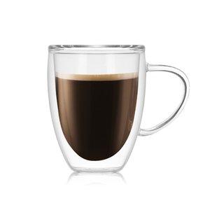 Vetro resistente al calore isolamento Bicchieri Double Deck High Grade tazza di tè trasparente tazza dell'acqua con le maniglie Ufficio Originalità 10xlb1
