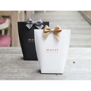 New Merci agradece-lhe presente Carton Baking Jóias Carton saco de papel de presente com laço partido Festival Shopping Bag Suprimentos Gift Wrap 13.5X16.5cm