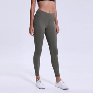 Оптовые 2019 LU-03 высокой талией йога штаны сплошной цвет Спортивный зал Wear Леггинсы Упругие Фитнес Леди Общие Полный Колготки