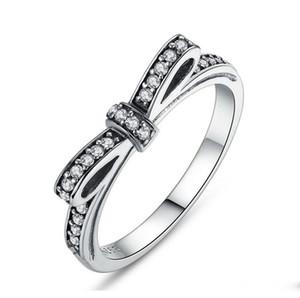 Women's 925 Silver Cubic zirconia Paved Luxury Diamond Ring Elegant Bowknot Bride Wedding Engagement Anniversaries Gifts