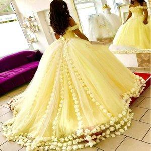 Zarif Sarı Gelinlik Modelleri Omuz 3D Çiçek Aplikler Abiye 2020 Yeni Geliş Sweet 16 Elbise Ucuz Abiye Kabarık Kapalı