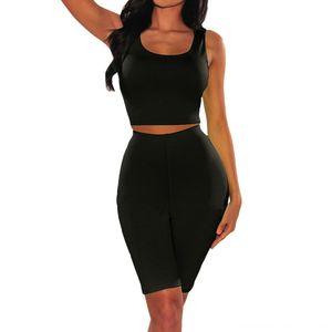 Solid Biker Shorts Sleeveless Tank Top Women Sports Suit Elastic Waist Knee Length Pants Two Piece Set