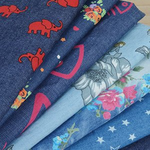Wide 150cm Soft Thin Colored Printed Washed Cotton Denim fabric Blue jean material By the Half Yard For Pants Skirt Summer Shirt