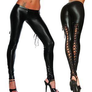 Punk Leggings Mulheres Sexy como rendas de couro preto faux Gothic Olhar Molhado Clubwear Latex Legging Calças Calças Mujer
