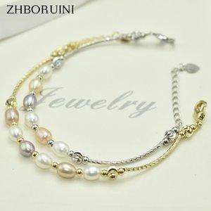 ZHBORUINI Charm nuovo braccialetto semplice personalità femminile gioielli naturali perla d'acqua dolce multicolore gioielli tallone perla