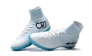 Azul blanco CR7 para niños botas de fútbol Mercurial Superfly cubierta TF para mujer Tacos de fútbol de alta calidad superior del tobillo niños Botas de fútbol